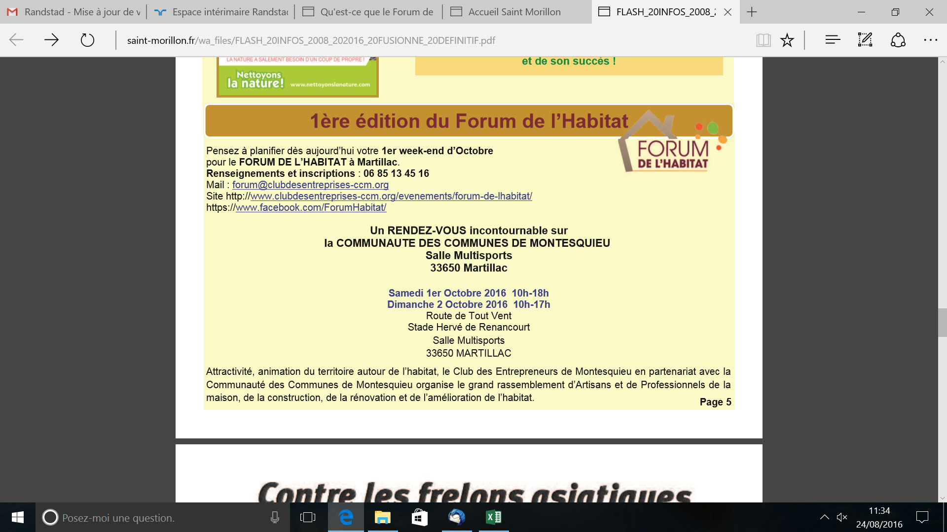 Flash info Saint-Morillon 0816 PUB FORUM HABITAT