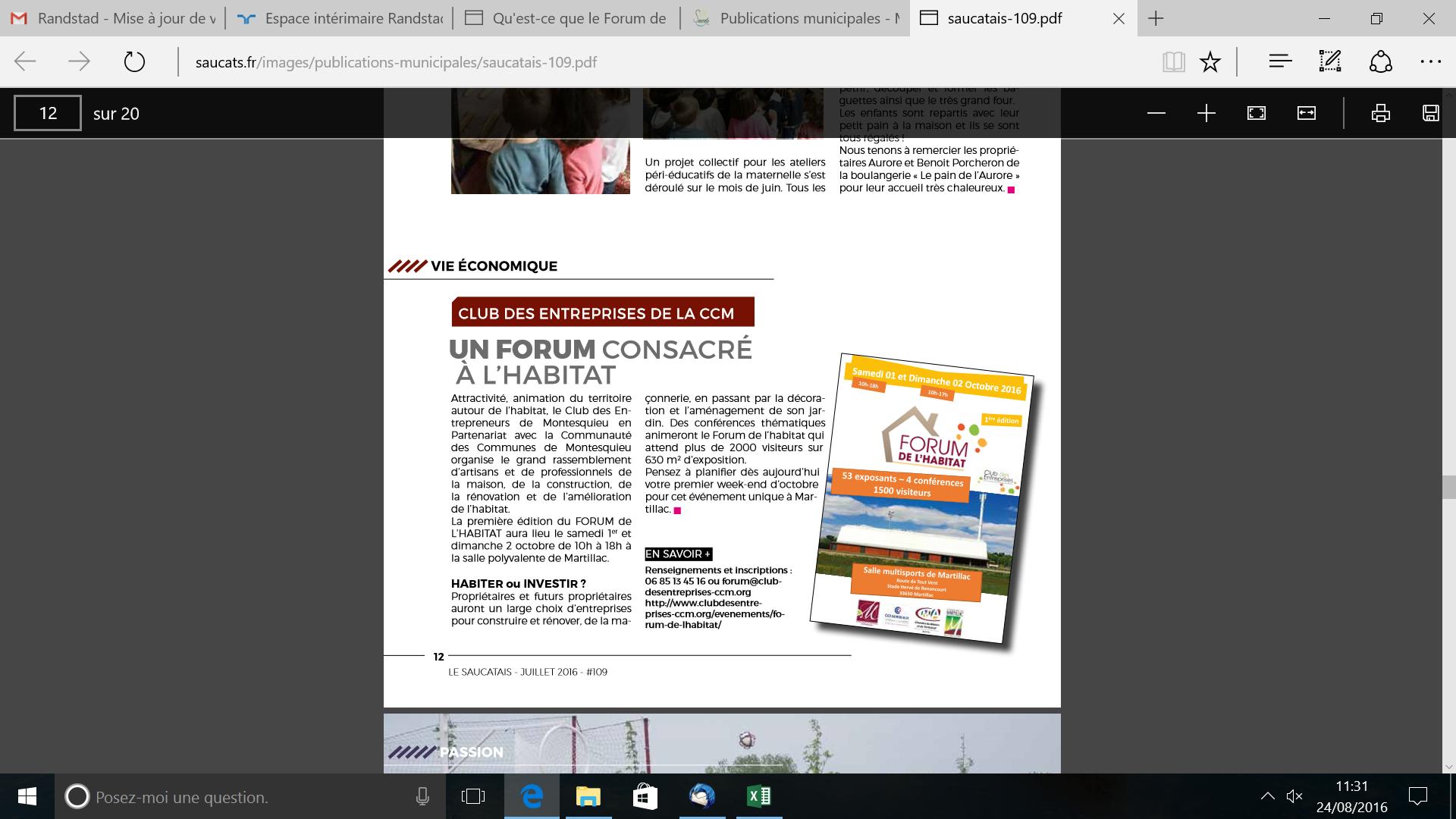 Journal municipal Saucats 0716 PUB FORUM HABITAT