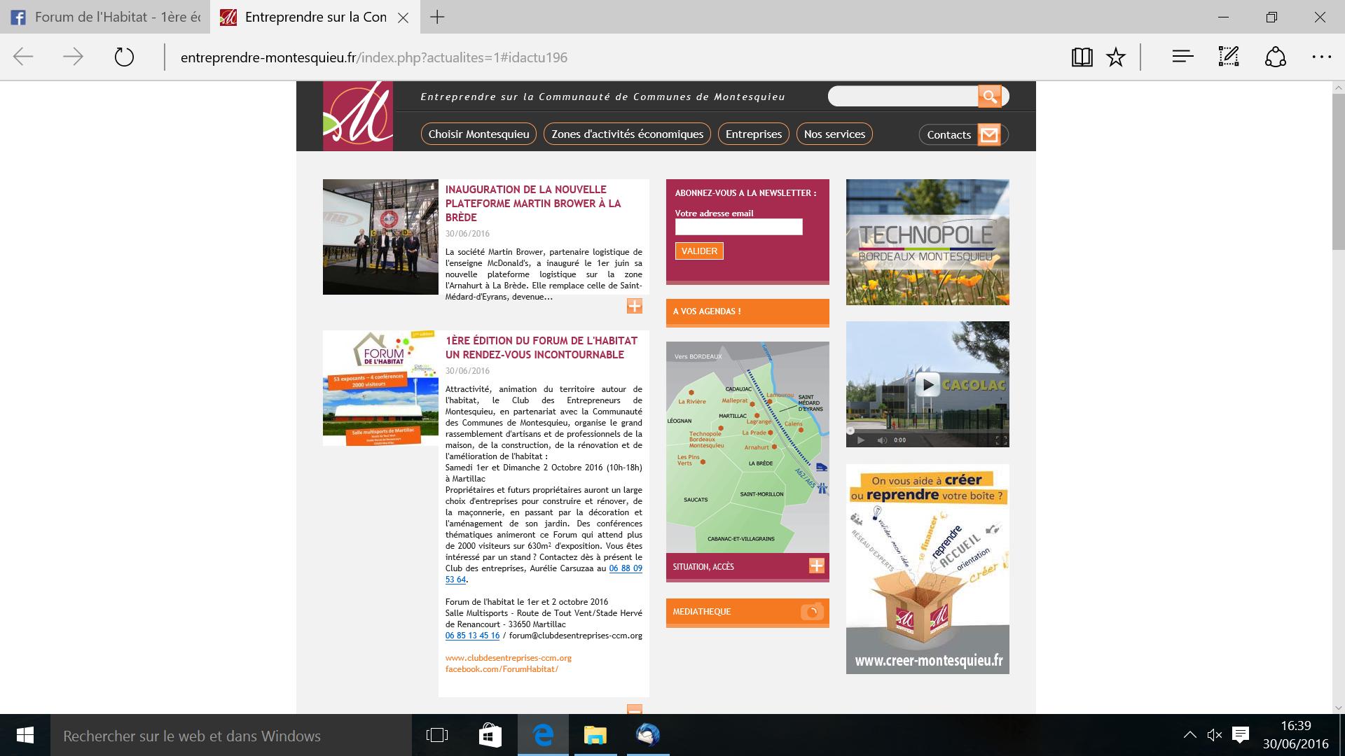 Site internet CCM PUB FORUM HABITAT